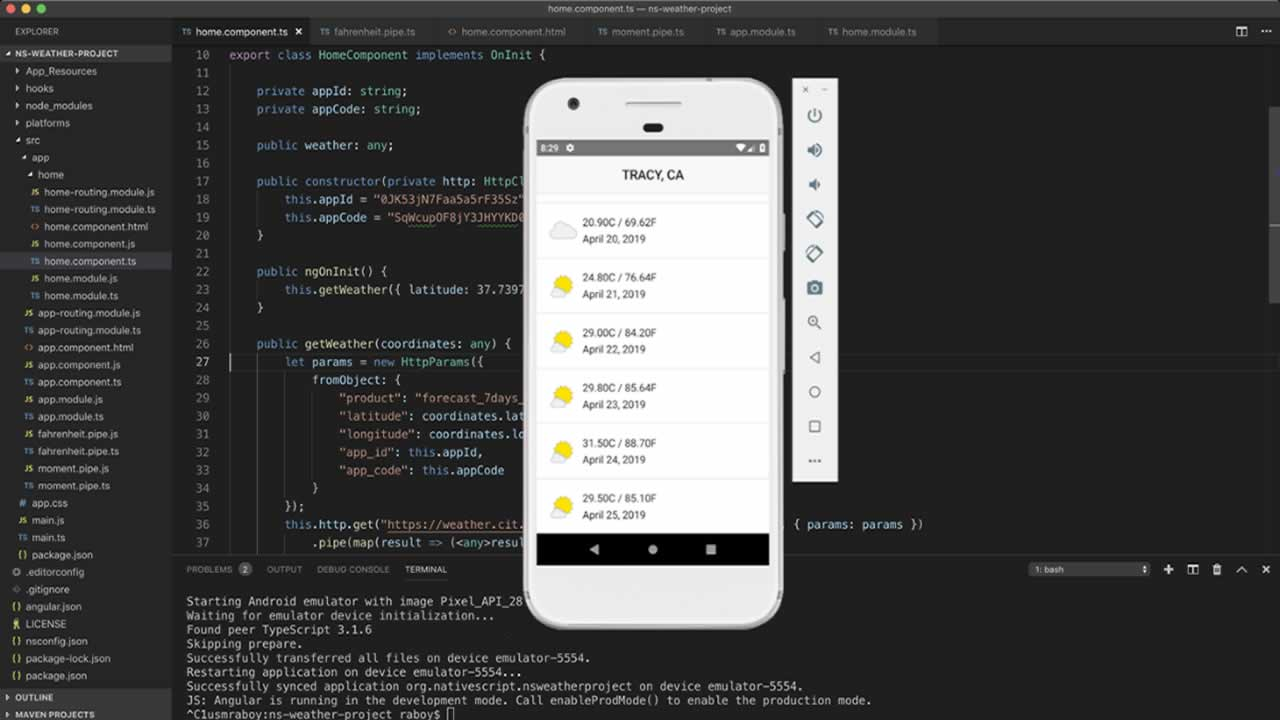 Display Weather Information in a NativeScript With Angular Android and iOS Mobile App