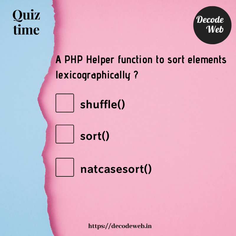 Which is a PHP Helper function to sort elements lexicographically ?