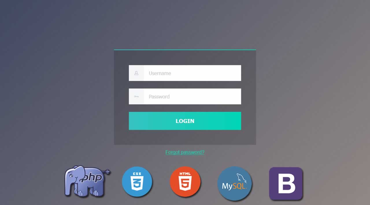 Build a Register & Login Form using PHP, HTML, CSS, Bootstrap and MySQL