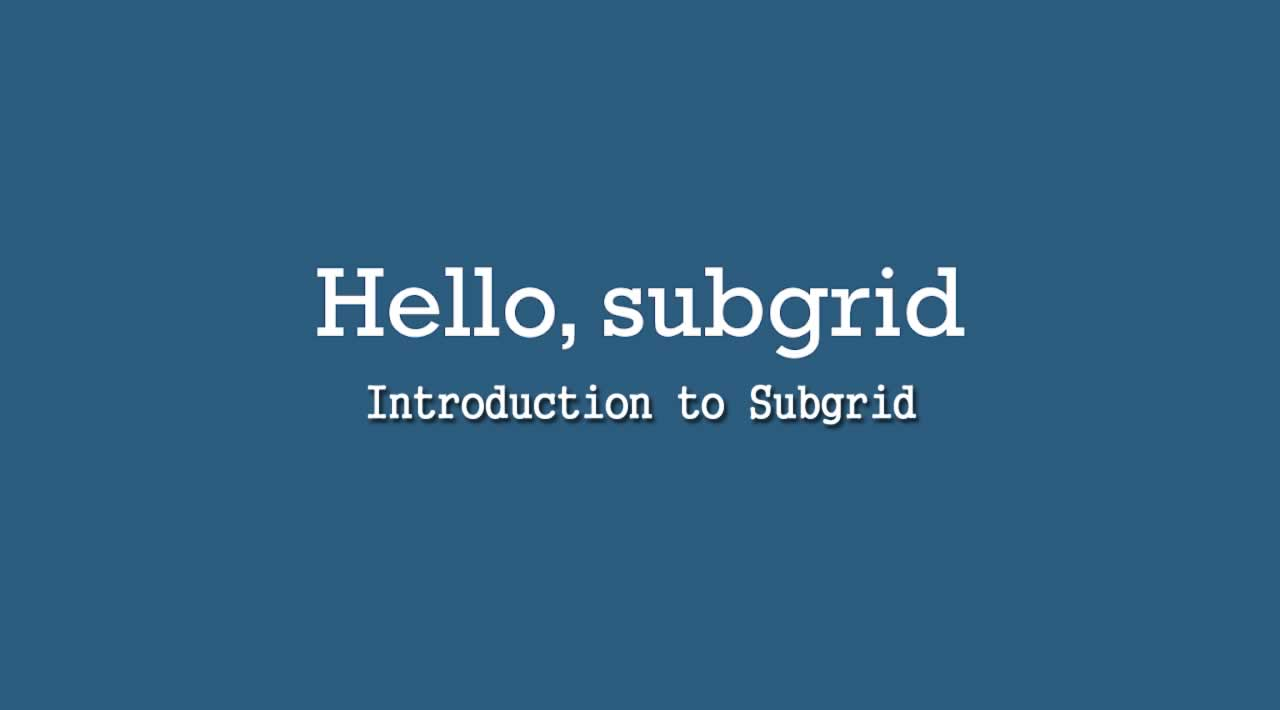 Introduction to Subgrid
