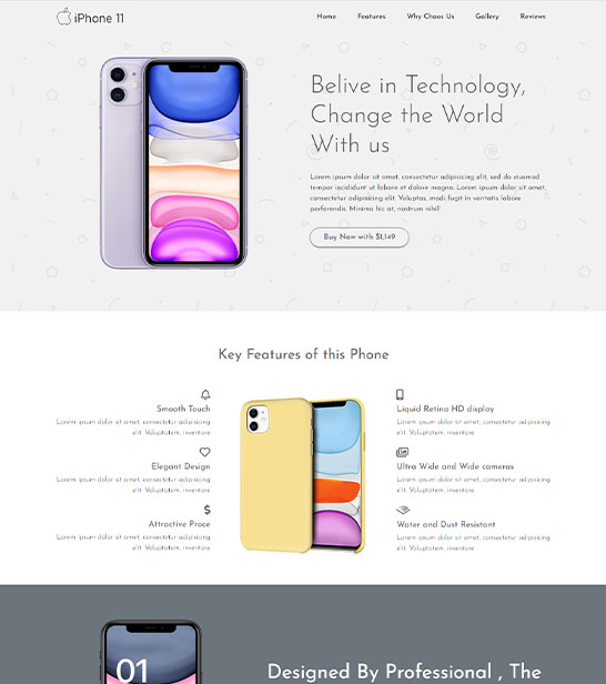 Free Mobile Landing page website template