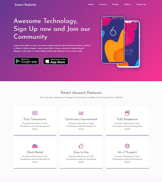 App Landing Page Website Template