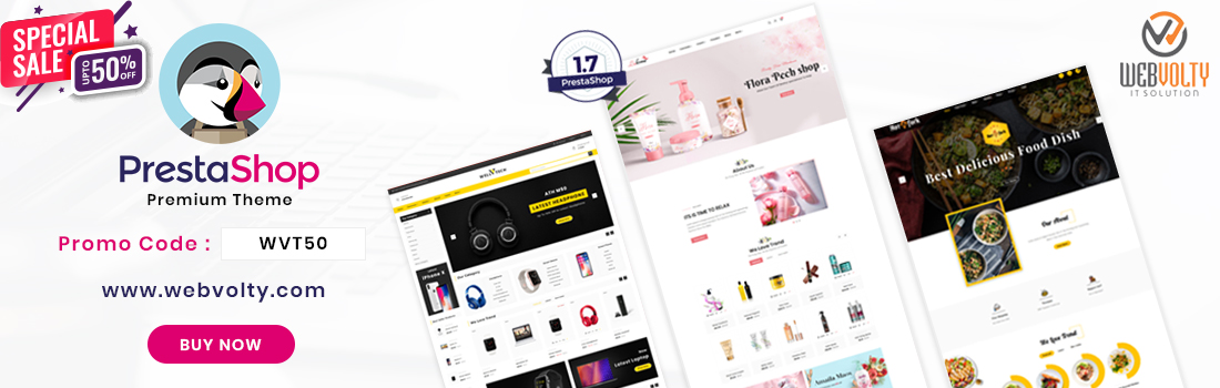 Webvotly MarketPlace Premium Prestashop Templates 50% Off in Promo Code: WVT50.