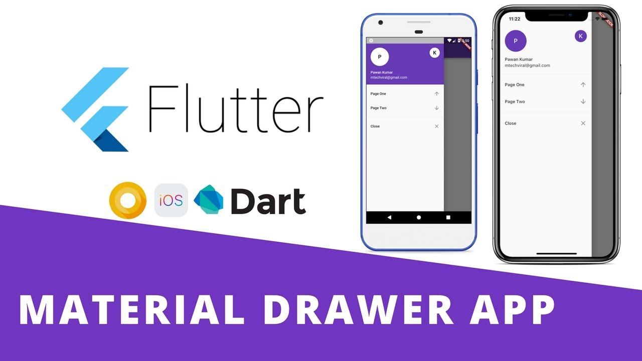 Flutter - Build Beautiful Material Navigation Drawer App With Routing
