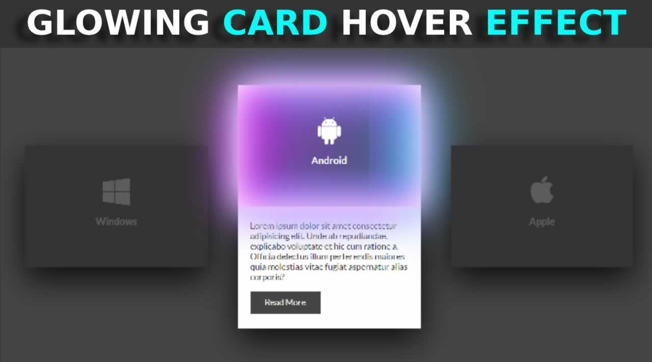 How to create glowing card hover effects using HTML and CSS