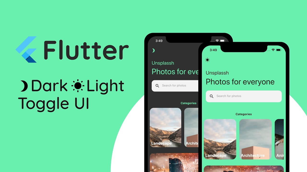 Flutter Tutorial Photography UI with Light/Dark mode switch