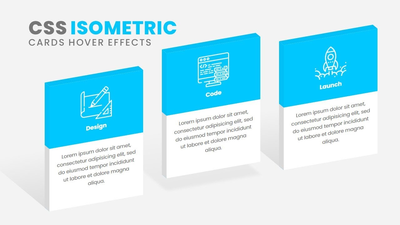 CSS3 Isometric Cards Hover Effects | Html CSS 3D Design