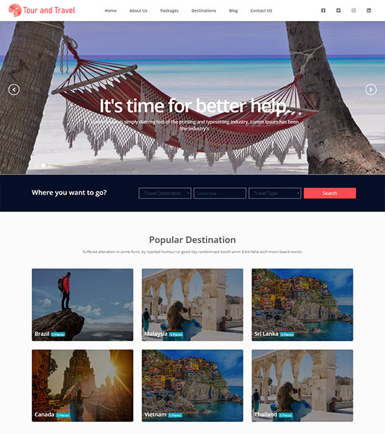 Free Travel and Tour Website Tempalte