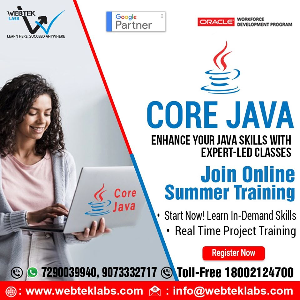 Get best training in Machine Learning, Java and other IT courses from WebTek Labs