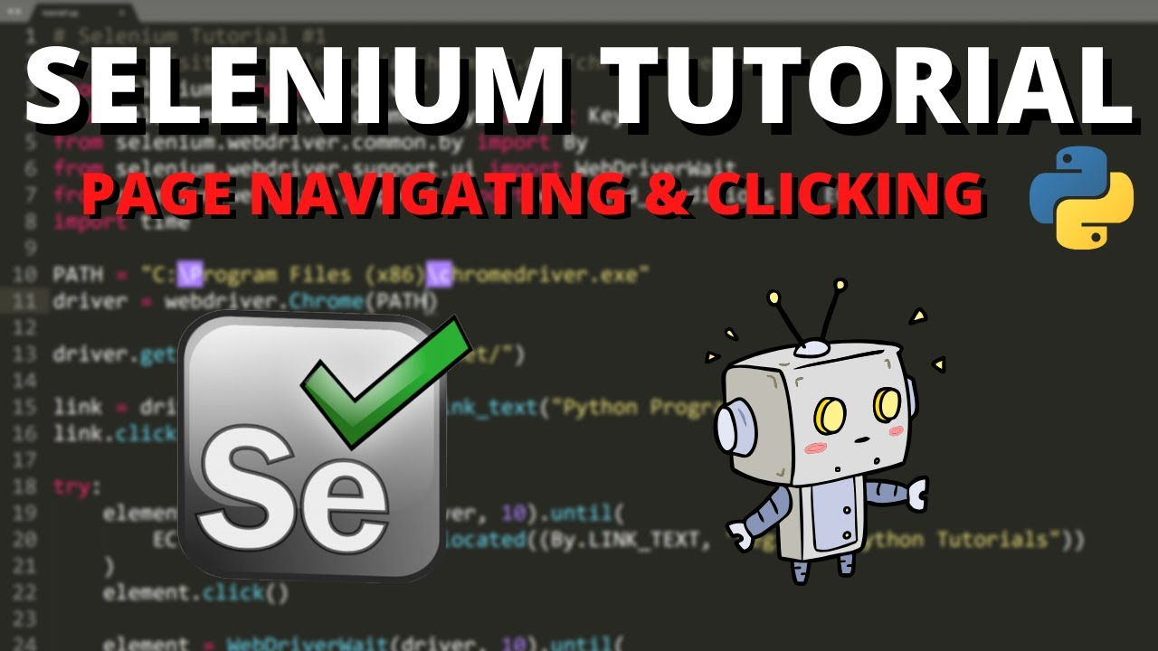 Python Selenium Tutorial - Page Navigating and Clicking Elements