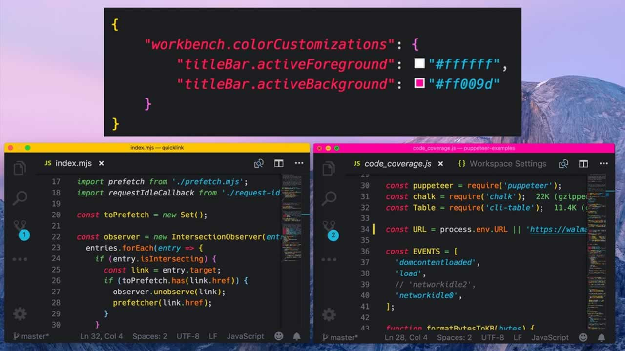 VS code theme colors